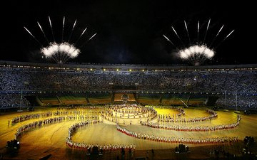 fireworks at the stadium world cup in brazil