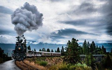 природа, дым, поезд, канада, паровоз, британская колумбия