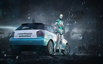 robot, audi, tuning, drives, a3, eset, vilner, rear view