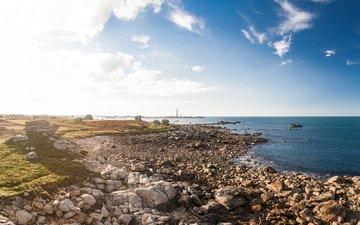 камни, берег, утро, маяк, океан, солнечный свет, франци