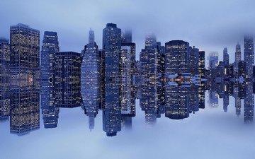 отражение, туман, нью-йорк, гавань, манхеттен