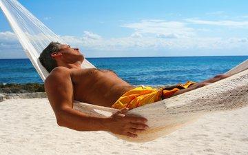 обои, фон, море, пляж, отдых, гамак, мужчина, мужик, широкоформатные, hd wallpapers, полноэкранные, широкоэкранные, fullscreen, валлпапер, расслабление
