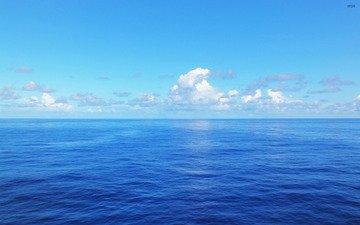 небо, облака, вода, горизонт, океан