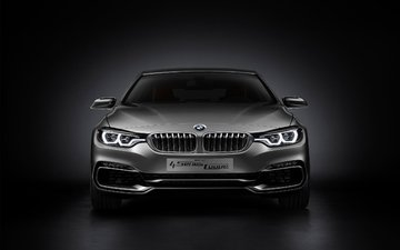 автомобиль, concept, купе, бмв, 2013, 4 series, серебреный, bmw 4 series coupe concept 2013, front side