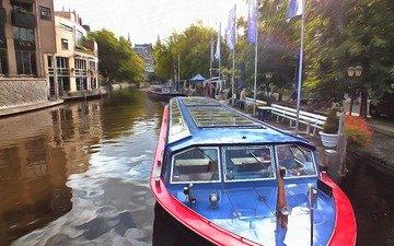 река, канал, катер, нидерланды, амстердам, голландия