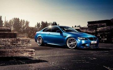 синий, автомобиль, бмв, bmw m3, автообои