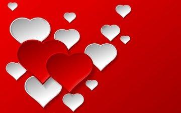 фон, красные, любовь, сердечки, день святого валентина