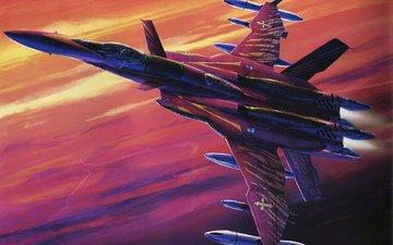 арт, рисунок, самолет, истребитель, ракеты, macross zero, подвески