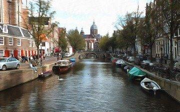 канал, нидерланды, амстердам, голландия