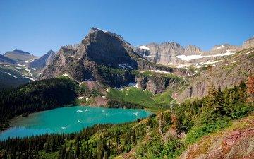 озеро, горы, природа, пейзаж, вид