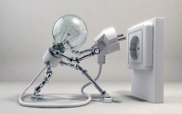 свет, провода, робот, вилка, жизнь, лампочка, розетка, техно, электричество, шурупы, гайки.