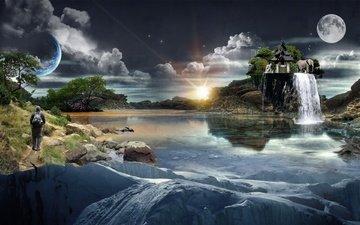 природа, фантастика, слон, речка, ноч