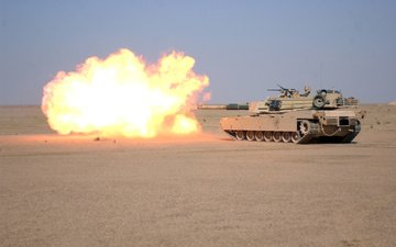 flame, weapons, desert, gun, fire, shot, tank, firing, m1a1, abrams, main