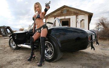 оружие, блондинка, пистолет, авто