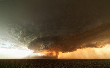 storm, sunset, cloud, tornado
