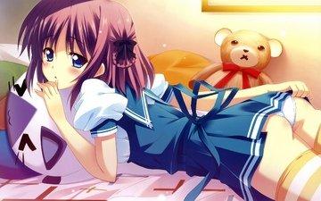 girl, look, form, anime, bear, bed