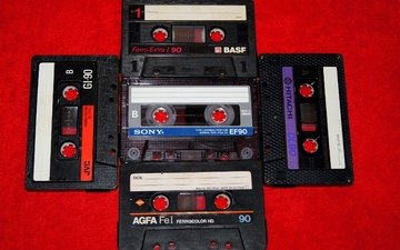style, retro, items, audio tapes, film