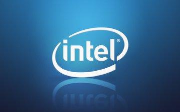 синий, голубой, логотип, градиент, лого, интел