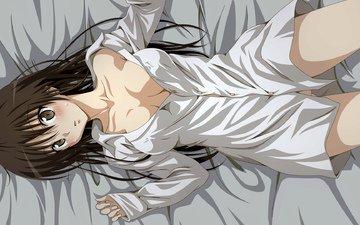 girl, shirt, lying, kotegawa yui, to love