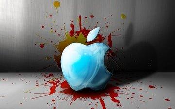 капли, брызги, краска, пятна, яблоко, бренд, эппл