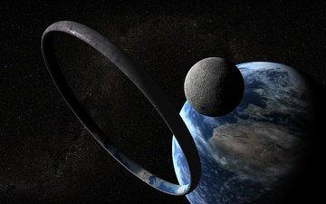 земля, космическая, космеи