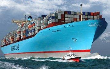 судно, корпус, контейнеровоз, maersk, борт, груз, eugen maersk