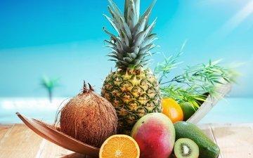 апельсин, киви, кокос, ананас
