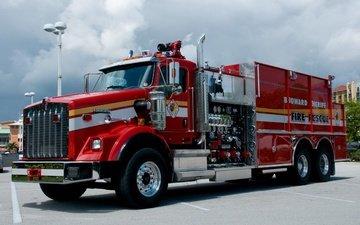 красная, автомобиль, хром, kenworth, (кенуорт), пожарная машина, техническое оборудование