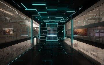 линии, комната, помещение, мониторы, стело