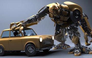 робот, автомобиль