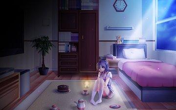 ночь, девушка, аниме, комната, кровать, темнота, lonely night