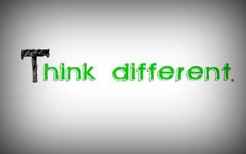 лого, белая, think, эппл