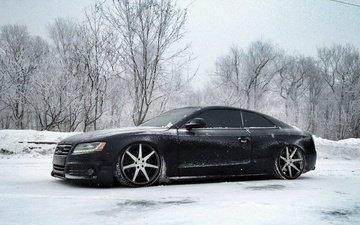 снег, зима, ауди, тюнинг, диски, audi s5