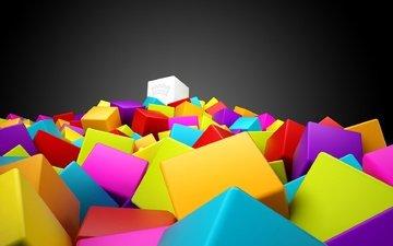 разноцветные, кубики, квадраты, 3d графика, 3d colorful squares