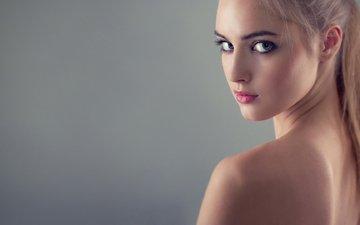 девушка, портрет, взгляд, серый фон, екатерина