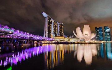 мост, блики, ночной город, здания, сингапур, marina bay sands