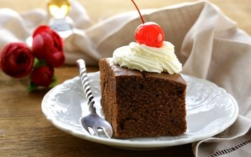 крем для торта, вилка, вишня, тарелка, торт, пирожное, вишенка