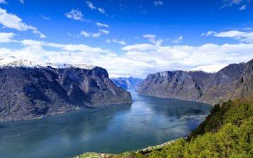 река, горы, пейзаж, норвегия, норвегии, гейрангер-фьорд, the geiranger fjord