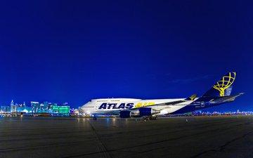 ночь, огни, самолет, boeing 747, воинг 747