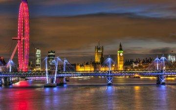 ночь, вечер, река, мост, великобритания, лондон, темза, колесо обозрения, англия, освещение, биг бен, биг-бен, вестминстерский дворец, london eye, лондонский глаз