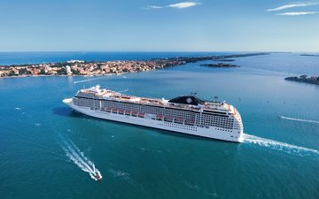 вода, море, день, белый, судно, лайнер, музика, на ходу, msc