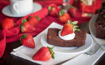 еда, клубника, ягоды, сладкое, торт, десерт, пирожное