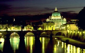 ночь, огни, отражение, рим, мост ангела, площадь свтого петра, ватикан, италия.