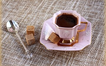 кофе, чашка, сахар, натюрморт, ложка, розовое, фарфор