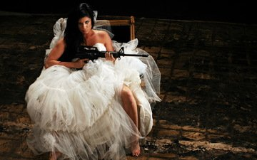 girl, weapons, machine, the bride