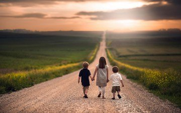 road, children, girl, the way, space, boys
