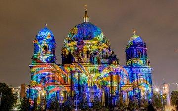 ночь, огни, собор, церковь, германия, берлин, 2013, berlin festival of lights, deutschland, берлинский кафедральный собор, berliner dom