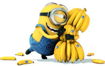 cartoon, white background, bananas, positive, minion, despicable me 2.