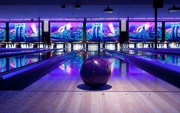спорт, развлечения, освещение, резвится, bowling lane, шар для боулинга, боулинг, bowling ball, illuminated, развлечение