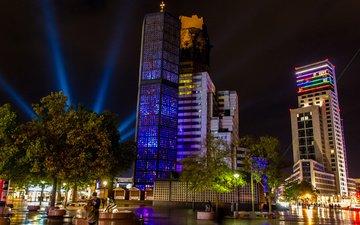 ночь, церковь, германия, берлин, 2013, berlin festival of lights, deutschland, мемориальная церковь кайзера вильгельма, breitscheidplatz, площадь брайтшайдплац